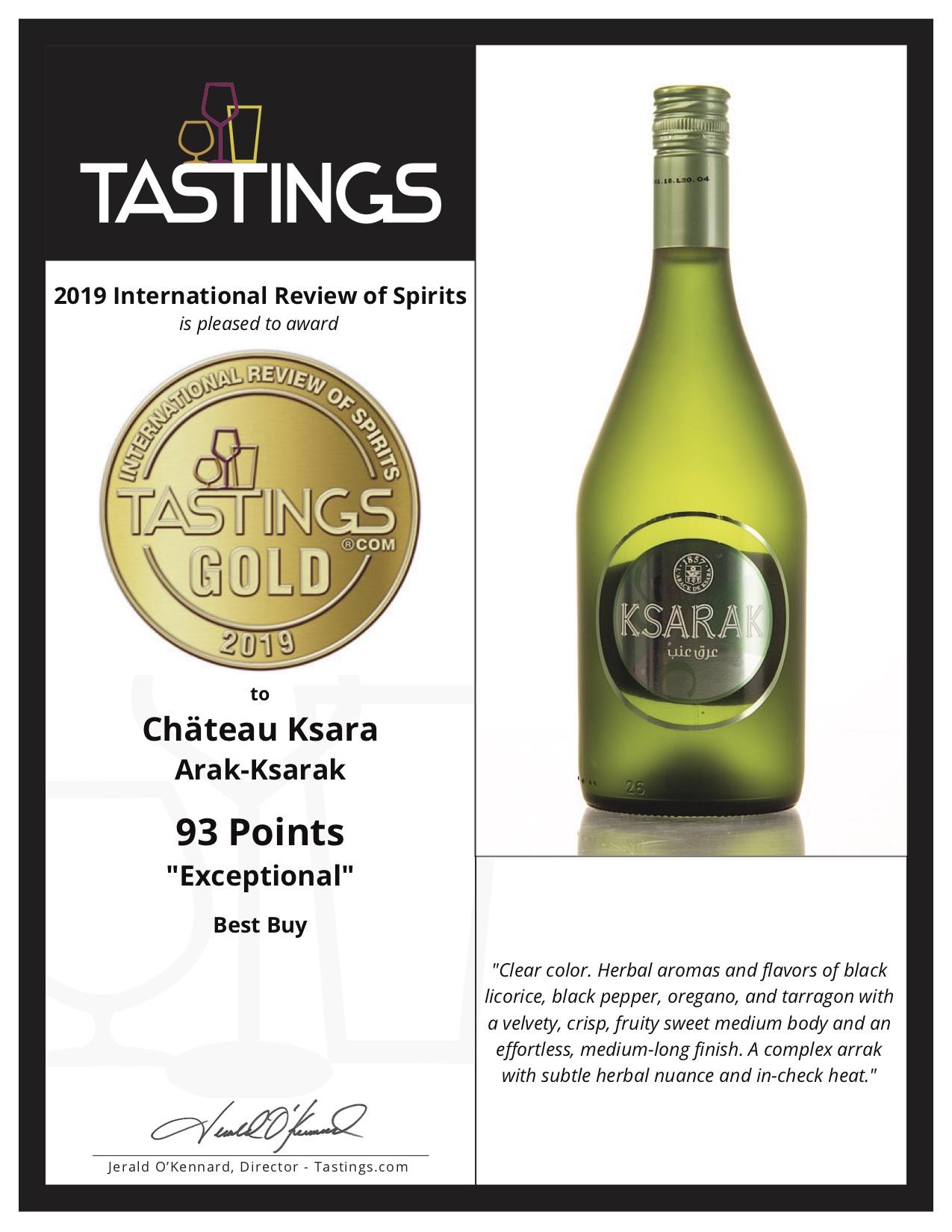 BTI 6-12-2019 Spirits Certificates for Château Ksara