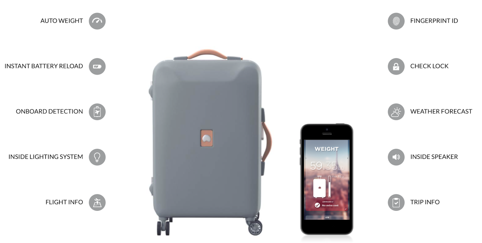 Delsey Pluggage connected suitcase