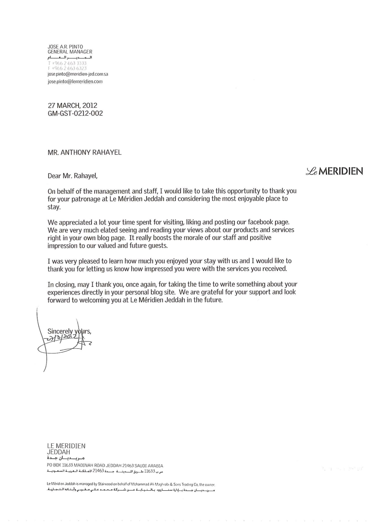A Thank You Letter From Le Merin