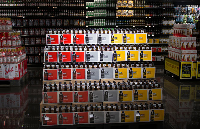 Kate Brooks for The New York Times A 961 Beer display at a Beirut supermarket.