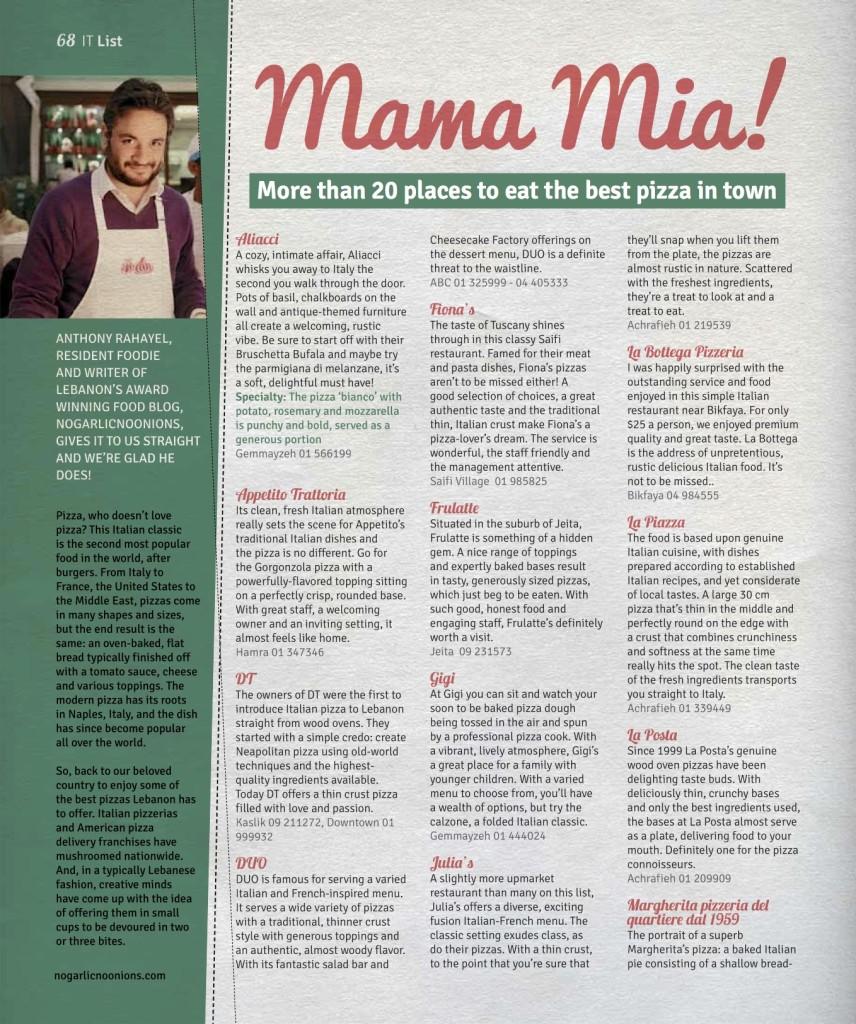 Pizza Italian Restaurants Lebanon Taste and Flavors Magazine