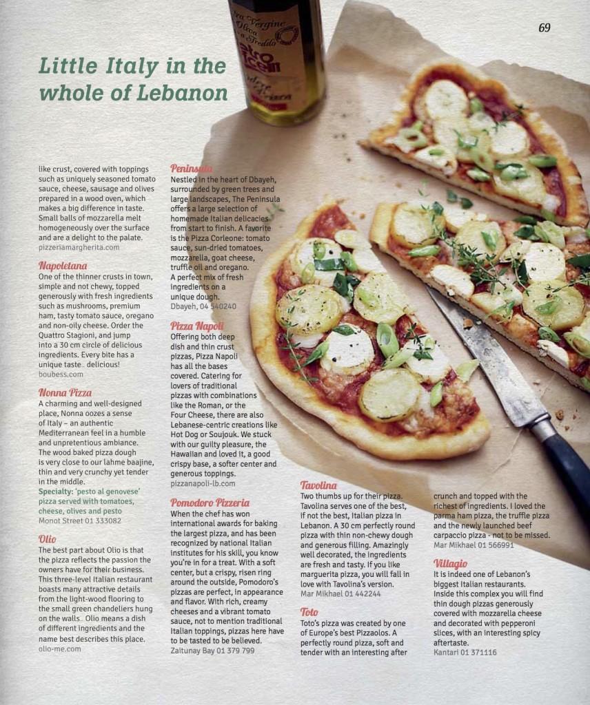 Pizza Italian Restaurants Lebanon Taste and Flavors Magazine2
